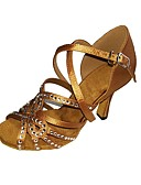 baratos Relógio Elegante-Mulheres Sapatos de Dança Latina Cetim / Seda Sandália / Salto Pedrarias / Presilha Salto Agulha Personalizável Sapatos de Dança Preto /