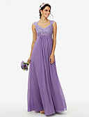 cheap Bridesmaid Dresses-Sheath / Column Queen Anne Floor Length Chiffon Corded Lace Bridesmaid Dress with Lace Pleats by LAN TING BRIDE®