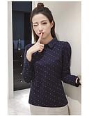baratos Camisas Femininas-Mulheres Camisa Social Poá Algodão Colarinho de Camisa