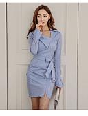 abordables Vestidos de Mujer-Mujer Noche / Trabajo Chic de Calle Corte Bodycon Vestido A Rayas Sobre la rodilla Escote en Pico Azul