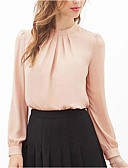 cheap Women's Blouses-Women's Going out Blouse - Solid Colored Pleated Crew Neck