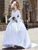 povoljno Vjenčanice-Krinolina V izrez Dugi šlep Saten Izrađene su mjere za vjenčanja s Perlica / Aplikacije po LAN TING BRIDE® / S manžetom