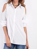baratos Camisas Femininas-Mulheres Camisa Social - Para Noite Com Corte, Sólido Decote V / Primavera / Outono