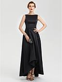 Χαμηλού Κόστους Βραδινά Φορέματα-Γραμμή Α Χαμόγελο Ασύμμετρο Σατέν Κοντό Μπροστά Μακρύ Πίσω Χοροεσπερίδα / Επίσημο Βραδινό Φόρεμα με Πλισέ με TS Couture®