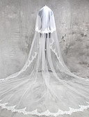 cheap Wedding Veils-Two-tier Lace Applique Edge Wedding Veil Cathedral Veils 53 Appliques Lace Tulle
