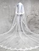 baratos Véus de Noiva-Duas Camadas Borda com aplicação de Renda Véus de Noiva Véu Catedral com Apliques Renda / Tule / Clássico