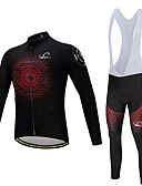 cheap Cycling Pants, Shorts, Tights-Long Sleeve Cycling Jersey with Bib Tights Bike Clothing Suit, Quick Dry Polyester, Spandex, Silicon Honeycomb / Lycra