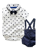 cheap Baby Girls' Clothing Sets-Baby Children's Party / Evening Outdoor Casual/Daily Going out Holiday Polka Dot Clothing Set, Cotton Autumn/Fall Summer Dresswear Short