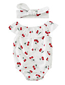 cheap Baby Girls' Clothing Sets-Baby Children's One-Pieces, Cotton Blend Summer Sleeveless White