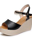 cheap Wedding Veils-Women's Shoes Synthetic Microfiber PU Summer Novelty / Light Soles Sandals Wedge Heel / Creepers Peep Toe Rhinestone / Imitation Pearl /
