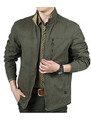 cheap Men's Hoodies & Sweatshirts-Men's Cotton Jacket - Solid Colored Stand