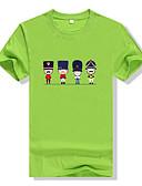 baratos Camisetas & Regatas Masculinas-Homens Camiseta Activo Estampado Algodão Decote Redondo / Manga Curta