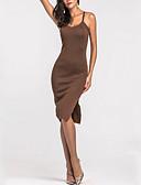 baratos Vestidos de Mulher-Mulheres Tubinho Bainha Vestido Sólido Com Alças Cintura Alta