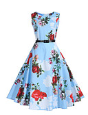 cheap Women's Dresses-Women's Going out Vintage Street chic Sheath Swing Dress - Floral Blue, Pleated High Rise
