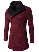 cheap Men's Jackets & Coats-Men's Simple / Casual Long Slim Coat - Solid Colored / Striped / Long Sleeve