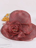 cheap Fashion Hats-Women's Cute Organza Floppy Hat - Patchwork Mixed Color