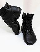 baratos Blusas Femininas-Mulheres Sapatos de Jazz Pele Sapatilha / Botas Sem Salto Personalizável Sapatos de Dança Preto / Ensaio / Prática