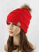 billige Trendy hatter-Dame Hodeplagg Søtt Chic & Moderne Strikketøy Beanie Hatt Solhatt - Ren Farge, Ensfarget Bomull
