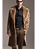 cheap Women's Dresses-Men's Long Fur Coat - Solid Colored Shirt Collar