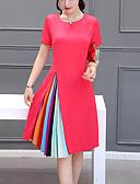 cheap Women's Dresses-Women's Plus Size Going out / Weekend Sophisticated A Line Dress - Color Block Pleated / Summer / Loose