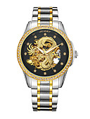 cheap Mechanical Watches-Men's Wrist Watch Japanese Water Resistant / Water Proof / Hollow Engraving / Noctilucent Stainless Steel / 24K Gold Plated Band Luxury / Fashion Silver / Gold / Automatic self-winding