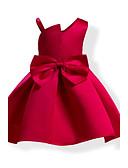 levne Dívčí šaty-Dívka je Bavlna Pevná barva Mašle Módní Celý rok Šaty, Bez rukávů Mašle Vodní modrá Rubínově červená
