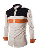 cheap Men's Shirts-Men's Cotton Slim Shirt - Color Block Patchwork Standing Collar / Long Sleeve