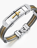 cheap Men's Shirts-Men's Bracelet Bangles - Stainless Steel Rock, Gothic, Fashion Bracelet Gold / White For Party Birthday Party / Evening