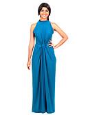 tanie Sukienki-Damskie Rozmiar plus Bawełna Bodycon Sukienka - Jendolity kolor, Wycięcia Półgolf Długa Niebieski / Lato