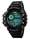 cheap Sport Watches-SKMEI Men's Sport Watch Military Watch Wrist Watch Japanese Digital 50 m Water Resistant / Water Proof Alarm Calendar / date / day PU Band Digital Fashion Black - Black Two Years Battery Life