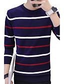 tanie Męskie swetry i swetry rozpinane-Męskie Zwyczajny Okrągły dekolt Pulower Prążki Nadruk Długi rękaw