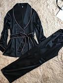 abordables Pijamas para Mujer-Mujer Satén Traje Satén y Seda Bata Ropa de dormir Un Color