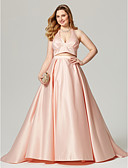 cheap Evening Dresses-A-Line Halter Neck Sweep / Brush Train Satin Open Back / Two Piece Cocktail Party / Formal Evening Dress with Pleats by TS Couture®