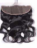 olcso Férfi pólók-Brazil haj 4x13 lezárása Hullámos haj Svájci csipke Szűz haj Női Napi