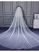 cheap Wedding Veils-Two-tier Cut Edge Wedding Veil Cathedral Veils 53 Ruffles Tulle