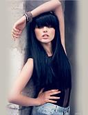 cheap Women's Dresses-Human Hair Capless Wigs Human Hair Straight With Bangs Long Machine Made Wig Women's