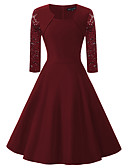 baratos Vestidos de Mulher-Mulheres Para Noite Vintage / Moda de Rua Algodão balanço Vestido - Renda / Vazado, Sólido Decote Quadrado Cintura Alta Altura dos Joelhos