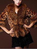 cheap Women's Fur & Faux Fur Coats-Women's Daily Glam Winter Short Fur Coat, Leopard Peter Pan Collar Half Sleeve Faux Fur Camel XL / XXL / XXXL