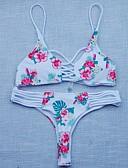 ieftine Bluze & Camisole Femei-Pentru femei Dantelat Floral Floral / Împletituri Crochet / Bloc de Culoare Halter Alb Bikini Costume de Baie - Floral Tropical Leaf Imprimeu M L XL