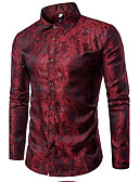 cheap Men's Tees & Tank Tops-Men's Cotton Slim Shirt - Solid Colored Jacquard Classic Collar / Long Sleeve