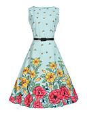 preiswerte Kleider für Mädchen-Kinder Mädchen Blumig / Zeichentrick Modisch Druck Ärmellos Baumwolle / Polyester / Baumwollmischung Kleid Leicht Blau