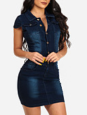 cheap Fashion Belts-Women's Street chic Denim Bodycon / Denim Dress - Solid Colored Mini Shirt Collar / Spring / Summer / Slim