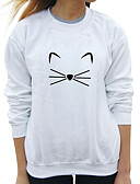 cheap Women's Hoodies & Sweatshirts-Women's Long Sleeves Cotton Sweatshirt - Solid, Print