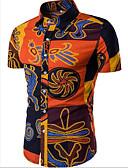 abordables Camisas de Hombre-Hombre Boho Playa Estampado - Algodón Camisa, Cuello Inglés Delgado Abstracto Amarillo XL / Manga Corta / Verano