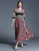 billige Kjoler-Dame Vintage Sofistikerede Gade A-linje Kjole - Patchwork Midi V-hals