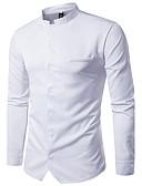 abordables Camisas de Hombre-Hombre Tejido Oriental Básico - Algodón Camisa, Cuello Mao Un Color / Manga Larga