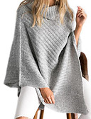 זול סוודרים לנשים-בינוני (מדיום) סתיו חורף כותנה ללא שרוולים גולף אחיד פשוטה יום יומי\קז'ואל הגלימה / שכמיות ארוך נשים מיקרו-אלסטי