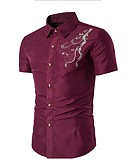 cheap Men's Shirts-Men's Cotton Shirt - Solid Colored Embroidered Standing Collar / Short Sleeve
