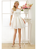cheap Wedding Dresses-A-Line / Princess Off Shoulder Short / Mini Satin Made-To-Measure Wedding Dresses with Appliques / Sashes / Ribbons by LAN TING BRIDE®
