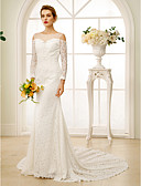 cheap Wedding Dresses-Sheath / Column Bateau Neck Chapel Train Lace Made-To-Measure Wedding Dresses with Beading / Crystals by LAN TING BRIDE® / Illusion Sleeve / Open Back / Royal Style